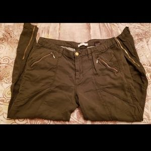 7 for all mankind, olive green chino pants.